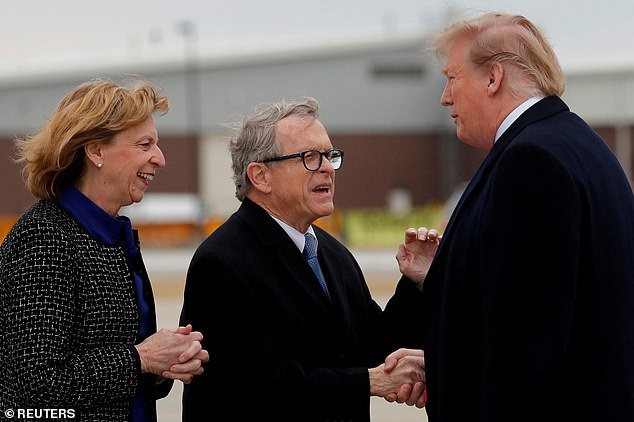 Gov. Mike DeWine, pictured in March 2019, tested positive for the coronavirus and cancelled a planned airport greeting with President Donald Trump set for Thursday