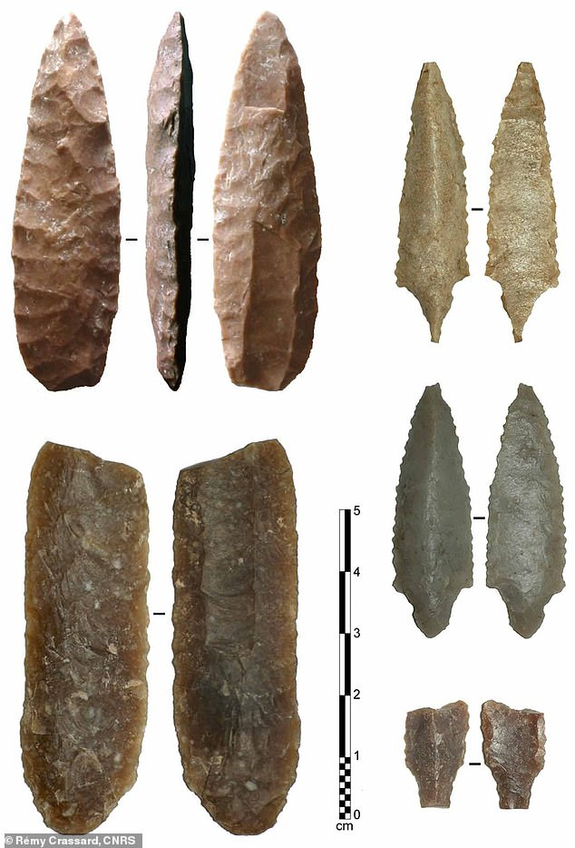 Fluting is a specific technique that involves the extraction of an elongated flake along the length of a projectile point, leaving a distinctive groove or depression at the base of the spearhead or arrowhead (pictured)