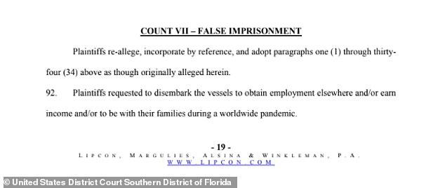 The suit accusedBahamas Paradise Cruise Line of false imprisonment