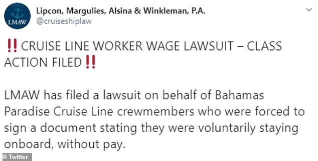 According to a proposed class action filed in a federal court in Miami, staff at Bahamas Paradise Cruise Line were subject to 'involuntary servitude' and refused pay