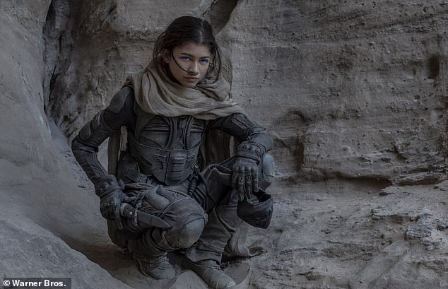 'Dune was incredible! It's fun to escape into another world': Zendaya next plays Paul Atreides' (Timothée Chalamet) Fremen love interest Chani in Denis Villeneve's two-part sci-fi epic Dune, which hits US/UK theaters on December 18