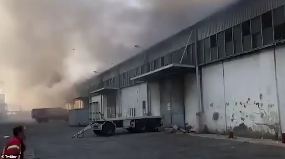 Video taken of the area around the same time shows fire crews at the scene along with heavy grey sliding doors. Beirut's governor has confirmed that 10 firefighters are missing following the blast