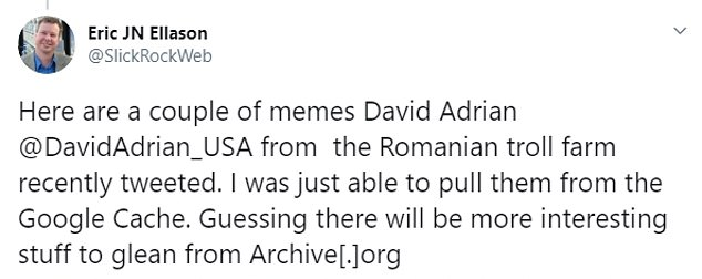 Some Twitter users took screenshots of the last memes some of these Romania troll farm accounts posted