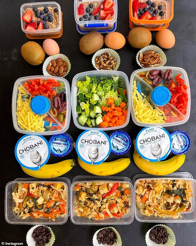 If you want to lose weight, Leanne said that nutrition is king and exercise is queen (a week of her typical daytime meals is pictured)