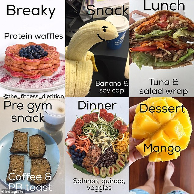 Nowadays, the dietitian said she favours a healthy and balanced day of eating with plenty of complex carbohydrates and snacks (a day on Leanne's plate is pictured)