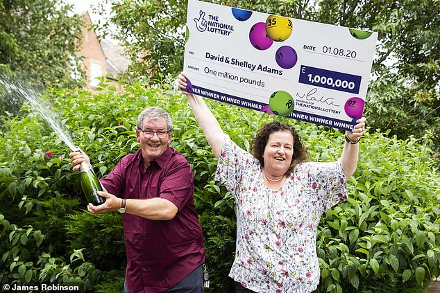 Just a day after losing his job as a wood machinist David Adams discovered he had won the lottery - but had to wake up his wife Shelley to share the good news
