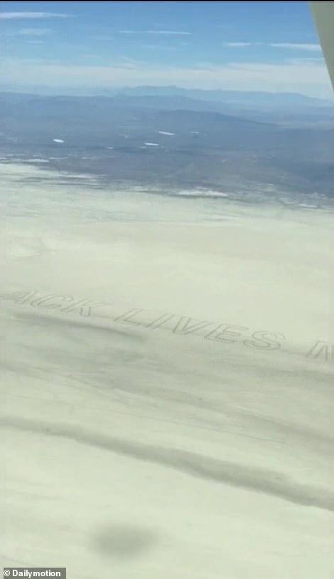 A bird's eye view of the Black Lives Matter mural in the Nevada desert