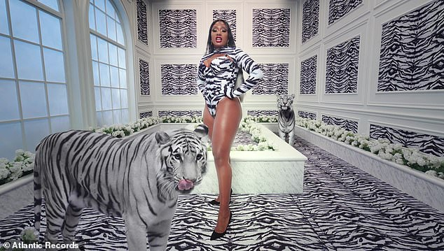 Spitting: As two actual tigers lingered in the background, Megan, wearing pointy black stilettos, removed herself from the split position in order to passionately bust out her rap