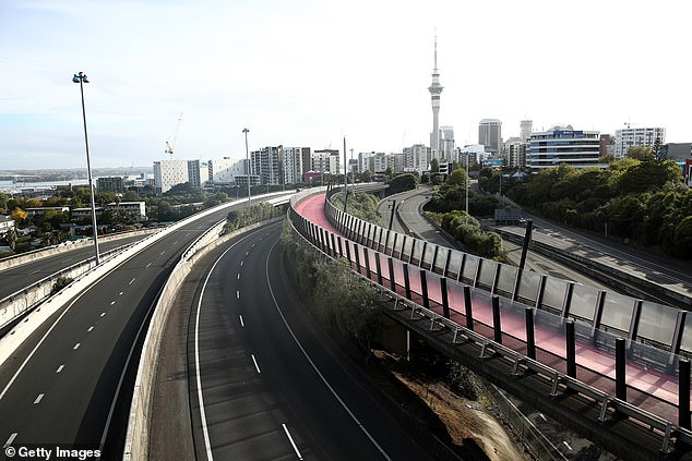 Pictured:Auckland motorways are seen empty of traffic as the COVID-19 lockdown takes effect