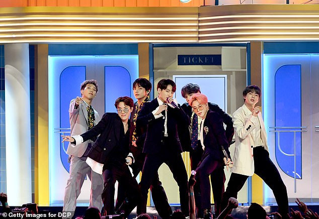 K-pop realness: The VMAs will feature performances from the likes of Doja Cat and J Balvin, as well as a debut English-language performance from South Korean boy band BTS; seen in 2019