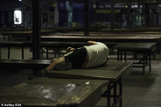 One reveller enjoyed the end of Leicester's lockdown a little too much. He was snapped taking a nap on some benches after a night out on Friday