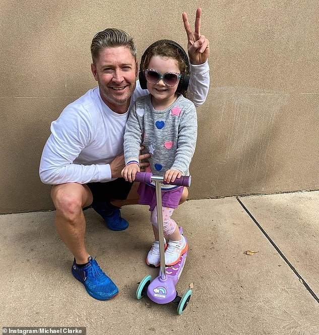 Family: Kyly has maintained that her four-year-old daughter Kelsey Lee, shared with Michael, is her top priority in the wake of their split. Pictured: Michael and Kelsey Lee