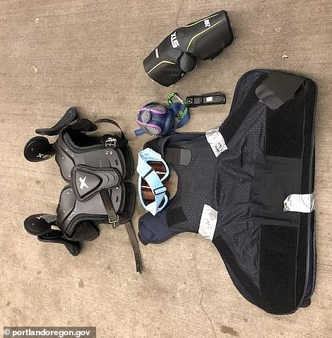 Police showed photos of body armor worn by protesters in Portland, Oregon