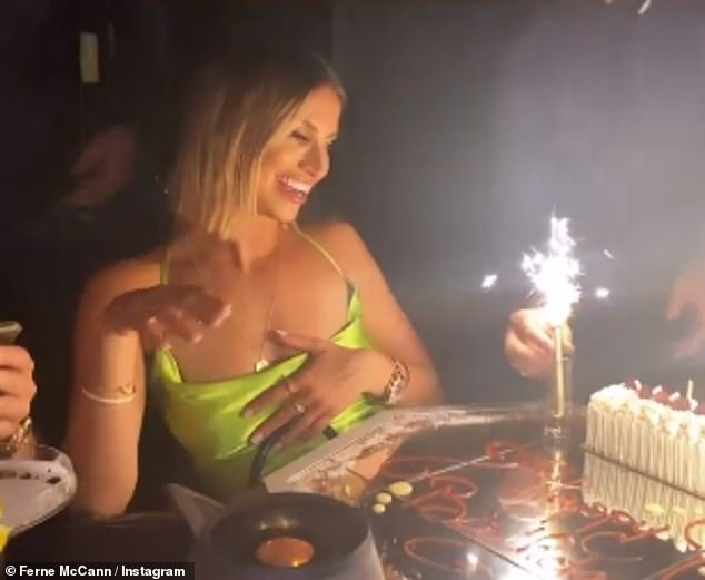 Celebrations: She then uploaded clips from a birthday dinner where she was presented with a cake with sparklers , while her loved ones sang happy birthday