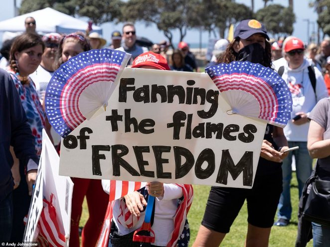 Pictured: a protester holds a sign reading 'fanning the flames of freedom' during a demonstration railing against California Gov. Gavin Newsom
