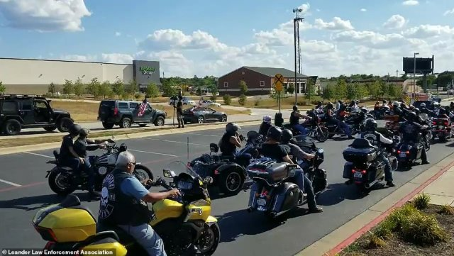 Bikers Backing Blue in Austin rode in support of law enforcement on Saturday in Austin, Texas, as police are scrutinized across the nation