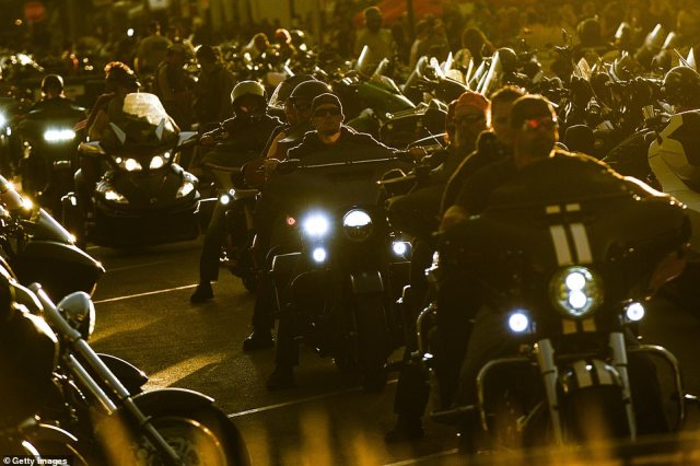 Bikers cruised down Main Street in Sturgis, South Dakota, on Saturday night as part of the annual festival