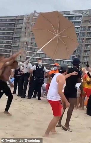 Umbrellas were also thrown on the beach