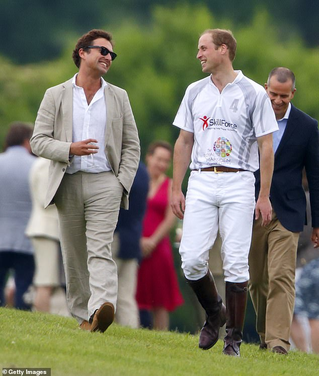 Prince William and Thomas (pictured together in a 2014 polo match in Coworth Park) have been friends since preschool and Thomas is Charlotte's godfather