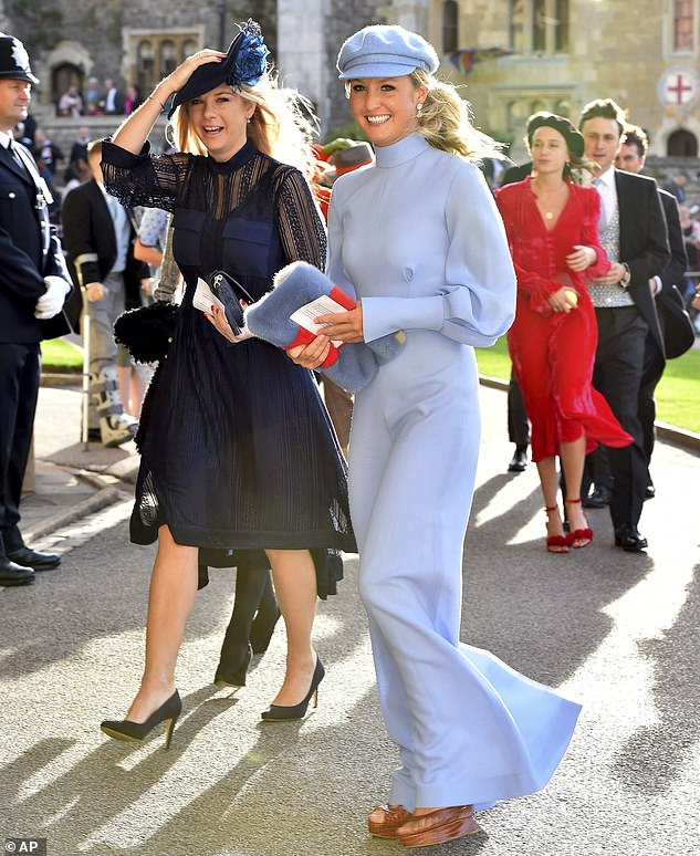 This is the second marriage for Thomas, who married Lady Melissa 'Missy' Percy, 32, in 2013. Lady Melissa is pictured with Harry's ex-girlfriend Chelsy Davy (left) at the Princess' wedding Eugenie of York and Jack Brooksbank in 2018