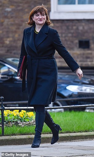 Amber Rudd, Nicky Morgan (pictured) and Andrew Neil are among those in the running to take over as the BBC's next chairman as Boris Johnson seeks a candidate in tune with the Government's agenda
