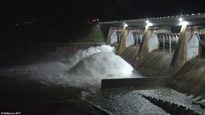 A catchment area in ACT was overflowing at the weekend as torrential rain hit the state, causing flash flooding
