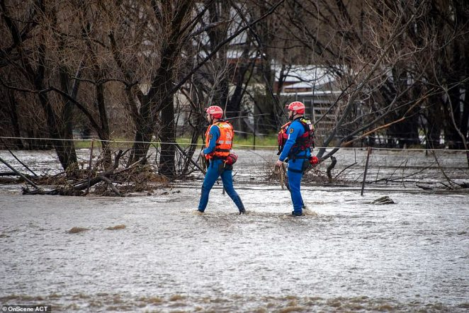 SES workers pictured walking through flood waters after torrential rain in ACT