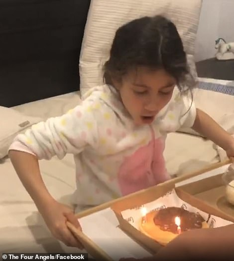 The tribute began with a video taken at Sienna's last birthday, as she excitedly blew out the candle of a cake