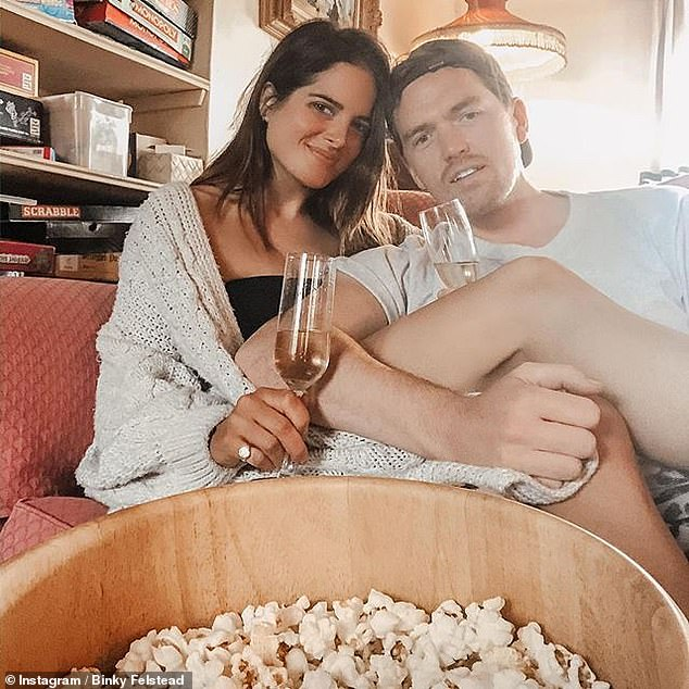 Romance:Last month, Binky admitted she wouldn't be with Max if 'marriage wasn't in the plan', but insisted she didn't 'mind' when the couple decide to tie the knot (pictured earlier this year)