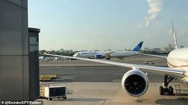 A United Airlines flight (pictured) has been evacuated at Newark Airport after a passenger made a bomb threat on board, reports suggest