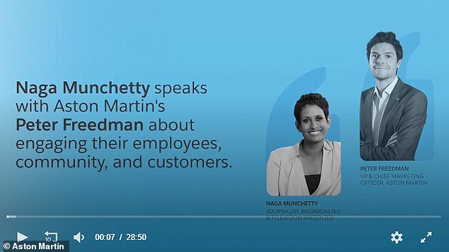 The title screenshot of the Aston Martin corporate video Naga Munchetty took part in. During the video, Freedman says the company initially put 75% of its staff on furlough to protect the company's bottom line: 'There was uncertainty for us when we were having to make those decisions'