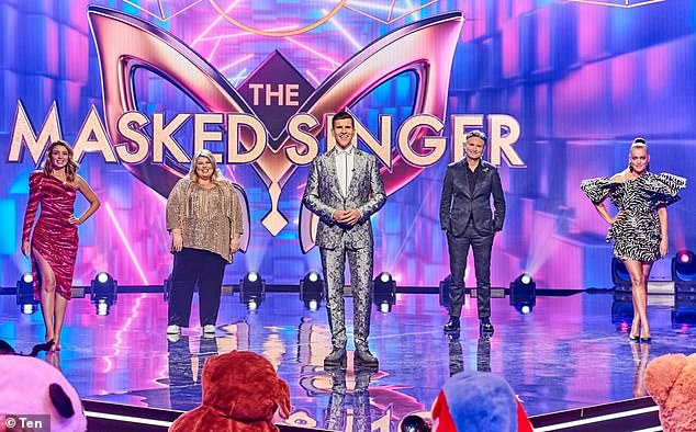 Losing its sparkle? The Masked Singer's ratings plummetted by 30 per cent on Monday night. Pictured, left to right, Dannii Minogue, Urzila Carlson, host Osher Gunsberg, Dave Hughes and Jackie 'O' Henderson