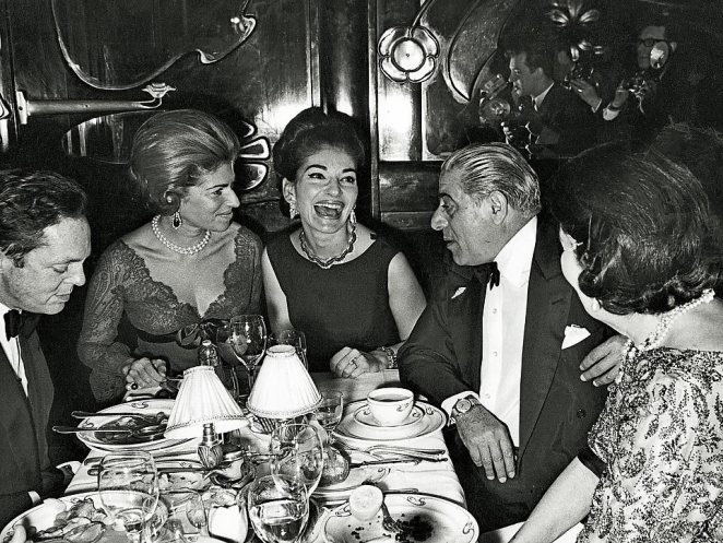 Aristotle Onassis, pictured with opera singer Maria and friends, acquired the apartment for his family in the sixties and seventies