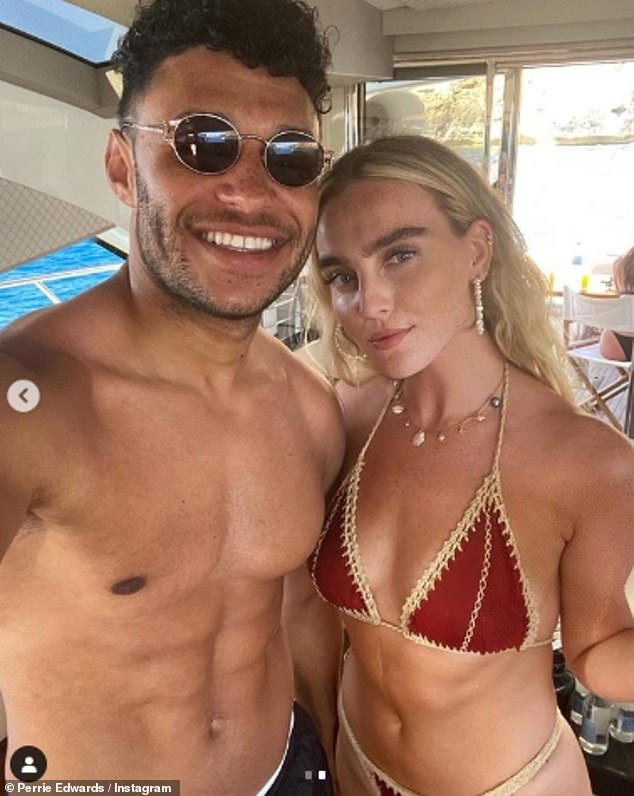 Couple goals: The pair - who have been dating for more than three years - made the most of their summer break on the White Isle and posted a series of sweet pictures together