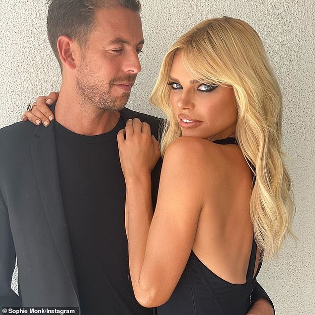 True colours! Sophie Monk has admitted she is so desperate to marry boyfriend Joshua she'd happily 'accept an onion ring' instead of a diamond (Sophie pictured with Joshua)