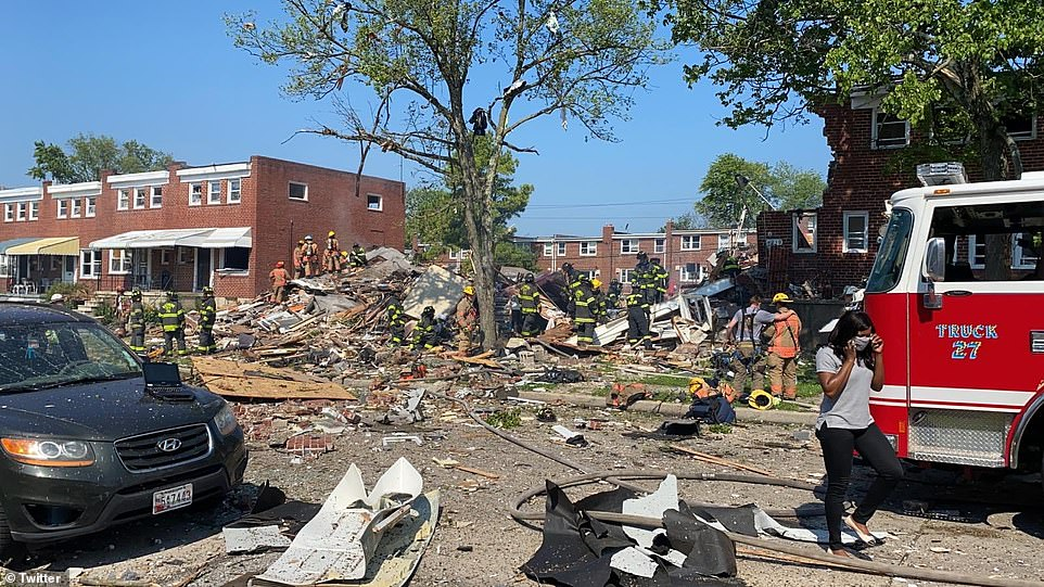 The deadly gas explosion ripped through at least three homes in Baltimore and trapped victims, including children, under the rubble