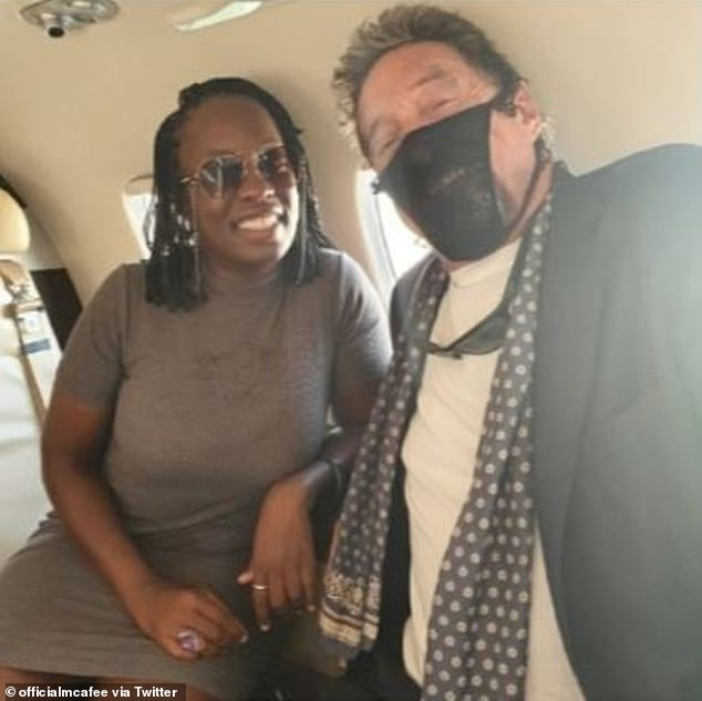 McAfee and his wife Janice (pictured) took to Twitter on Monday morning to share that they had both been detained by Norwegian authorities for not wearing approved face coverings