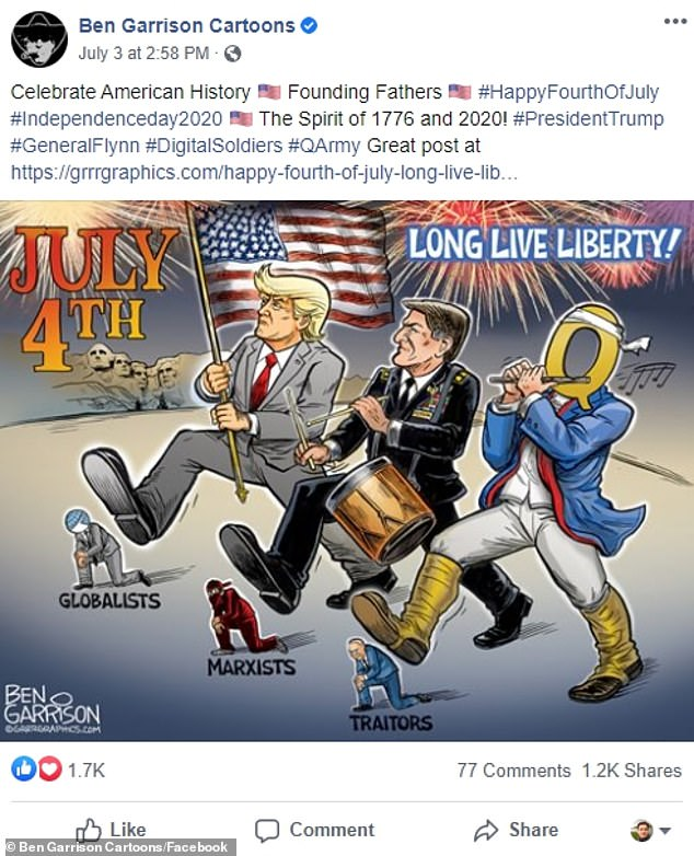 Cartoons promoting QAnon circulate widely on Facebook, and are being investigated