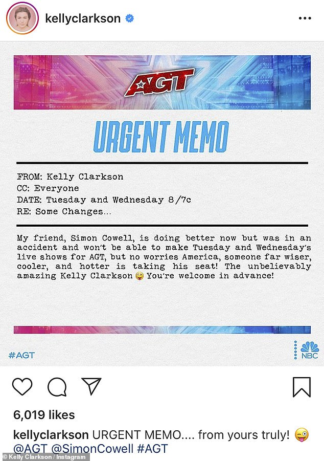 This is me: Kelly Clarkson announced on Monday afternoon that she would replace Simon Cowell as judge on America's Got Talent live broadcasts on Tuesday and Wednesday after her back injury