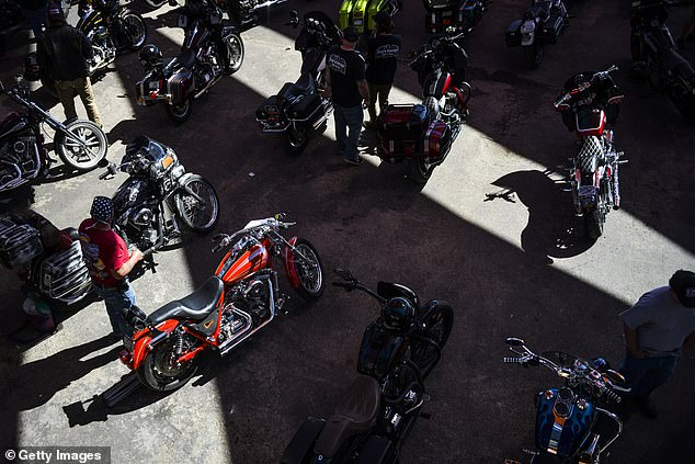 Motorcycles sit parked at the Buffalo Chip during the 80th Annual Sturgis Motorcycle Rally