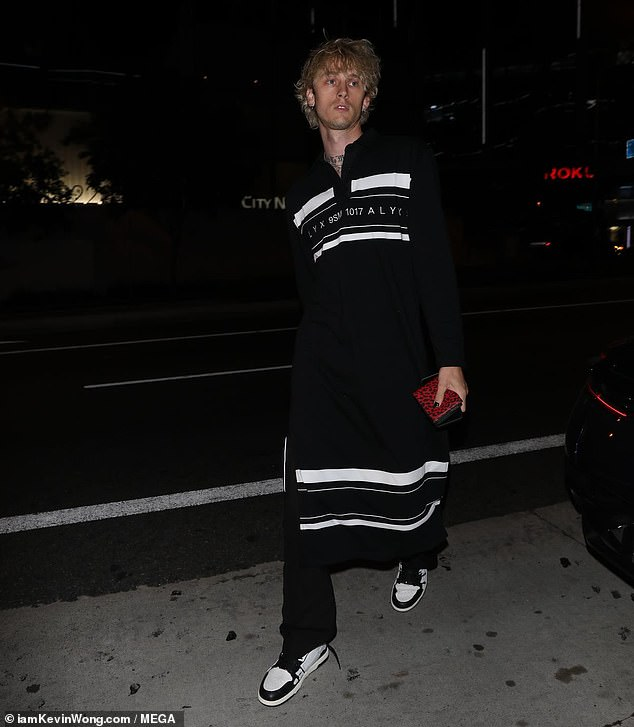 Guys night: Machine Gun Kelly opted for a guys night on Monday as he grabbed dinner at BOA Steakhouse with his good pal Mod Sun in West Hollywood
