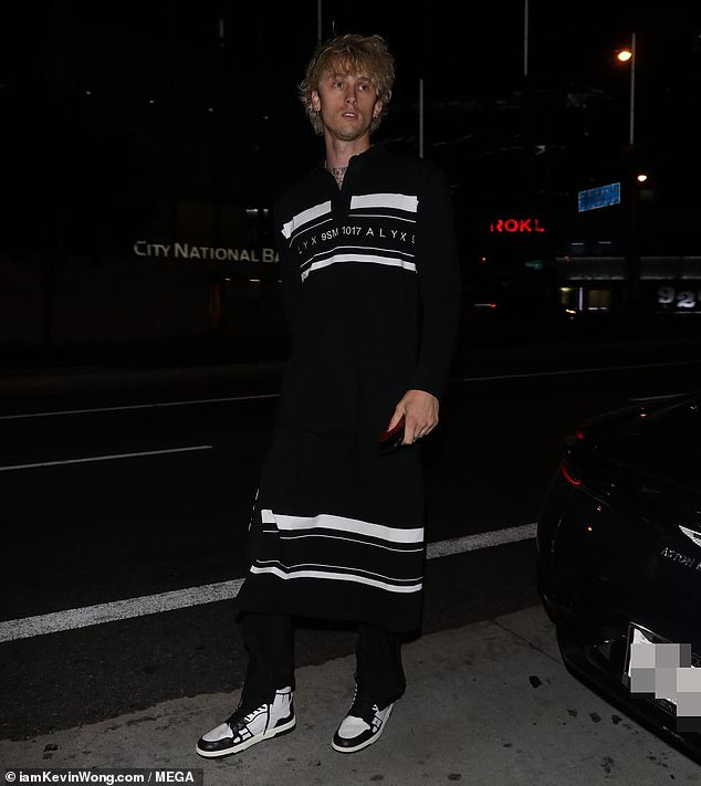 Streetwear: The 30-year-old rapper rolled up to the celeb hot spot in an oversize polo shirt by streetwear brand 1017 ALYX 9sm