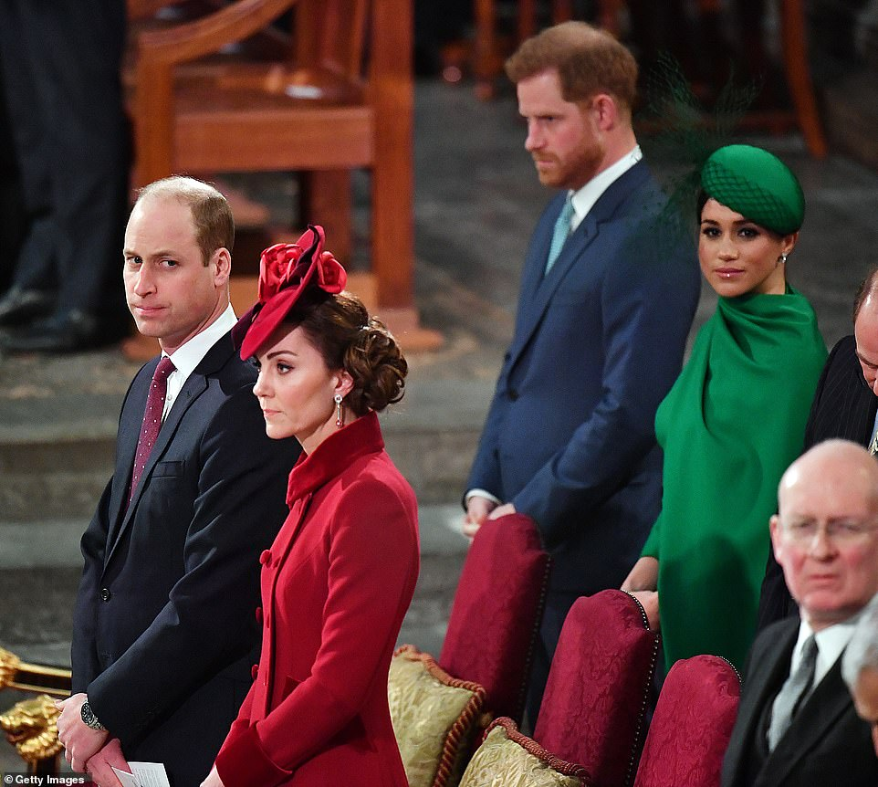 Meghan Markle is said to have burst into tears after a frosty Commonwealth Day Service at Westminster Abbey on March 9, where she sat with Harry just behind Prince William and Kate, as the 'raw emotion,' of leaving the royal family hit home