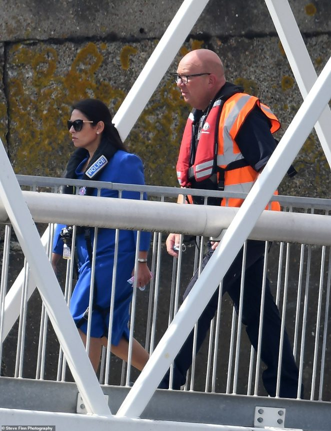 Home Secretary Priti Patel headed to Dover yesterday, and was seen disembarking from a police boat that had been out in the Channel earlier that morning