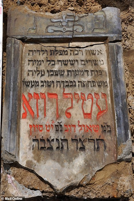 Some of the matzevot have kept their original colours and painted lettering, clearly showing the blue, green, yellow and red colours of the inscriptions
