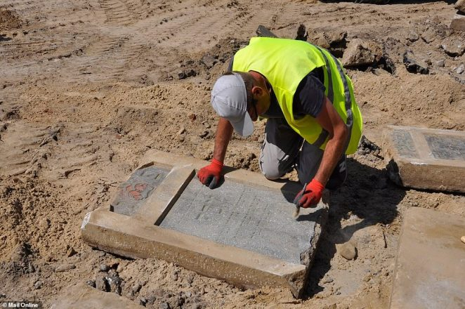 Around 100 of the gravestones are still complete, with some made of sandstone and others of concrete