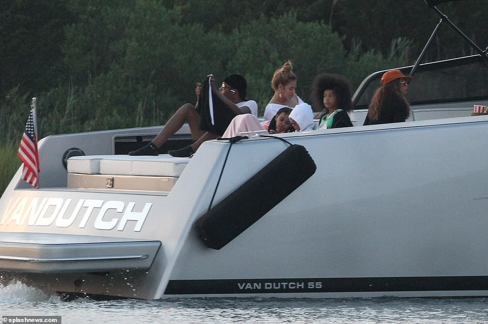on boat ride in hamptons with mom tina