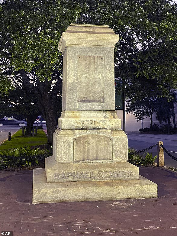 The pedestal where the statue of Admiral Raphael Semmes stands empty, in Mobile, Alabama. The city of Mobile removed the Confederate statue without making any public announcements