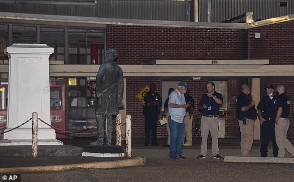 The Robert E. Lee Statue stands off its base at Lee High School in Montgomery, Alabama, pictured in June 2020. The school has a majority black student population
