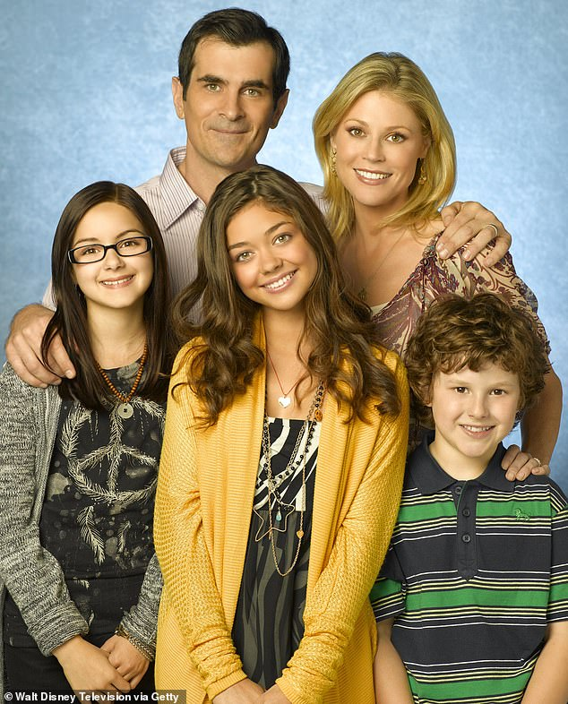 Claiming fame: Winter, left, was 11 when she was cast as Alex Dunphy on the ABC Modern Family sitcom which ended in April 2020 after 11 seasons
